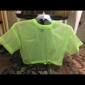 Sheer neon yellow crop top with cute drawstring